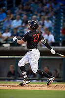 Birmingham Barons second baseman Trey Michalczewski (27) follows through on a swing during a game against the Tennessee Smokies on August 16, 2018 at Regions FIeld in Birmingham, Alabama.  Tennessee defeated Birmingham 11-1.  (Mike Janes/Four Seam Images)