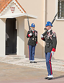 Ceremonial changing of the guard at the entrance to the Prince's Palace of Monaco, the official residence of the Prince of Monaco, currently Prince Albert II, in Monaco on Monday, October 21, 2013.<br /> Credit: Ron Sachs / CNP