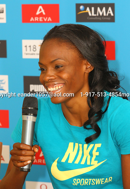 Chaunte Lowe at the Samsung Diamond League press conference, Pullman Hotel. Paris,France Thursday, July  15, 2010. photo by Errol Anderson.