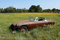 Old abandoned convertible in spring.