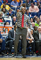 NWA Democrat-Gazette/BEN GOFF @NWABENGOFF<br /> Mike Anderson, Arkansas head coach, shouts to his team in the second half vs Florida Thursday, March 14, 2019, during the second round game in the SEC Tournament at Bridgestone Arena in Nashville.