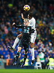 Real Sociedad's forward Juanmi Jimenez Lopez and Real Madrid's midfielder Mateo Kovacic during the match of La Liga between Real Madrid and   Real Sociedad at Santiago Bernabeu Stadium in Madrid, Spain. January 29th 2017. (ALTERPHOTOS/Rodrigo Jimenez)