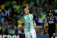 MEDELLIN - COLOMBIA - 25 - 05 - 2017: Dayro Moreno, jugador de Atletico Nacional, celebra el gol anotado a Barcelona, durante partido de la fase de grupos, grupo 1 fecha 6, entre Atletico Nacional y Barcelona de Ecuador, por la Copa Conmebol Libertadores Bridgestone 2017, en el Estadio Atanasio Girardot, de la ciudad de Medellin. / Dayro Moreno, player of Atletico Nacional, celebrates the goal scored against Barcelona, during a match for the group stage, group 1 of the date 6th, between Atletico Nacional of Colombia and Barcelona of Ecuador, for the Conmebol Libertadores Bridgestone Cup 2017, at the Atanasio Girardot, Stadium, in Medellin city. Photos: VizzorImage / Leon Monsalve / Cont.