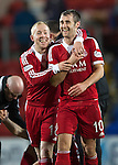 St Johnstone v Aberdeen.....07.12.13    SPFL<br /> Niall McGinn celebrates with Nicky Low<br /> Picture by Graeme Hart.<br /> Copyright Perthshire Picture Agency<br /> Tel: 01738 623350  Mobile: 07990 594431