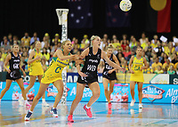 07.10.2018 Silver Ferns Michaela Sokolich-Beatson and Australia's Kate Moloney in action during the Silver Ferns v Australia netball test match at the Brisbane Entertainment Centre in Brisbane. Mandatory Photo Credit ©Michael Bradley.