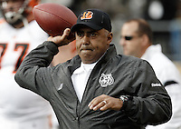 PITTSBURGH, PA - DECEMBER 04:  Head coach Marvin Lewis of the Cincinnati Bengals warms up with his team prior to the game against the Pittsburgh Steelers on December 4, 2011 at Heinz Field in Pittsburgh, Pennsylvania.  (Photo by Jared Wickerham/Getty Images)