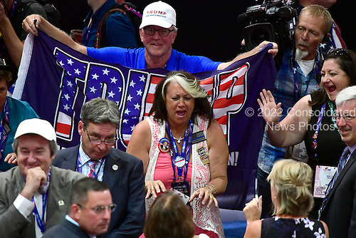 Delegates celebrate on the floor at the 2016 Republican National Convention held at the Quicken Loans Arena in Cleveland, Ohio on Wednesday, July 20, 2016.<br /> Credit: Ron Sachs / CNP<br /> (RESTRICTION: NO New York or New Jersey Newspapers or newspapers within a 75 mile radius of New York City)