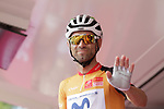 Race leader World Champion Alejandro Valverde (ESP) Movistar Team at sign on before Stage 4 of the Route d'Occitanie 2019, running 154.8km from Gers - Astarac Arros en Gascogne to Clermont-Pouyguillès, France. 23rd June 2019<br /> Picture: Colin Flockton | Cyclefile<br /> All photos usage must carry mandatory copyright credit (© Cyclefile | Colin Flockton)