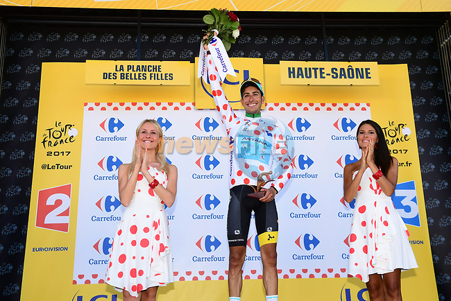 Fabio Aru (ITA) Astana wins Stage 5 and also goes into the Polka Dot Jersey of the 104th edition of the Tour de France 2017, running 160.5km from Vittel to La Planche des Belles Filles, France. 5th July 2017.<br /> Picture: ASO/Alex Broadway | Cyclefile<br /> <br /> <br /> All photos usage must carry mandatory copyright credit (&copy; Cyclefile | ASO/Alex Broadway)