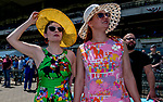 June 8, 2019 : Two women watch a race on Belmont Stakes Festival Saturday at Belmont Park in Elmont, New York. Scott Serio/Eclipse Sportswire/CSM