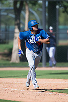 Los Angeles Dodgers first baseman Meaux Landry (33) runs to first base during an Instructional League game against the San Diego Padres at Camelback Ranch on September 25, 2018 in Glendale, Arizona. (Zachary Lucy/Four Seam Images)