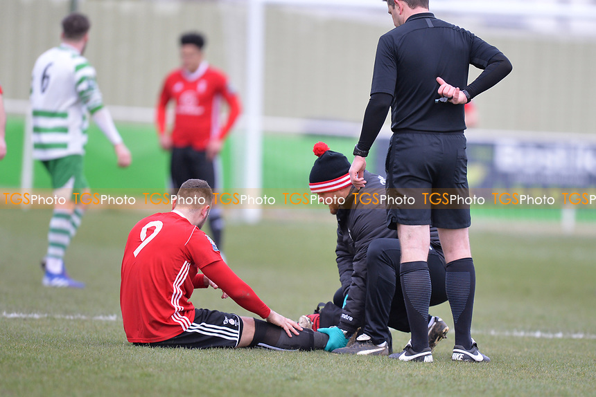 Adam Cornell of Bracknell Town receives treatment  during Waltham Abbey vs Bracknell Town, Bostik League South Central Division Football at Capershotts on 9th February 2019