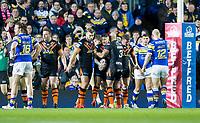 Picture by Allan McKenzie/SWpix.com - 23/03/2018 - Rugby League - Betfred Super League - Leeds Rhinos v Castleford Tigers - Elland Road, Leeds, England - Castleford celebrate Jamie Ellis's try against Leeds.