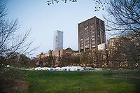 4/1/20-New York, New York City. The relief organization, Samaritan's Purse, has set up a 68 bed tented field hospital in Central Park, in front of Mt. Sinai Hospital, to provide respiratory care to coronavirus patients. They began taking their first patienst today.