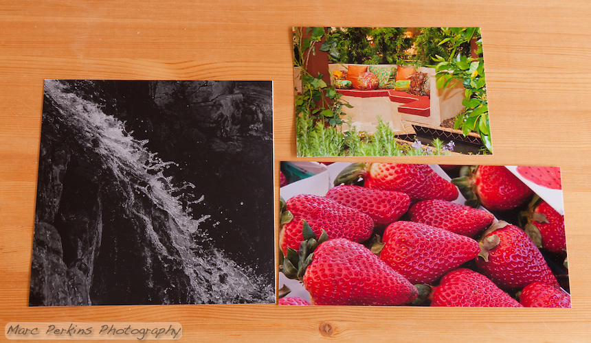 """A selection of prints by BWC photo imaging (http://www.bwc.net).  The left is printed as an 8x8"""" on their black and white paper, the top right is a 5x7"""", and the bottom right is a 5x10""""."""