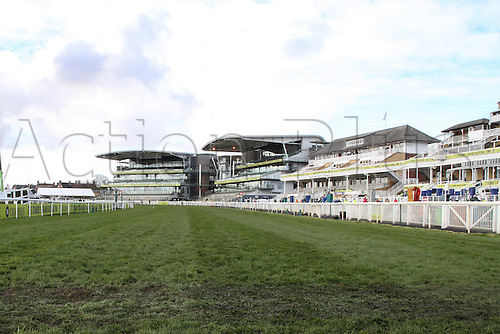 09.04.2016. Aintree, Liverpool, England. Crabbies Grand National Festival Day 3. A jockey's eye view of the last few hundred yards to the finishing post.