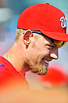 2 March 2011: Washington Nationals pitcher Stephen Strasburg watches Spring Training action against the Florida Marlins at Space Coast Stadium in Viera, Florida. The Nationals defeated the Marlins 8-4 in Grapefruit League action. Mandatory Credit: Ed Wolfstein Photo