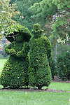 A re-creation in sculpted shrubbery by French artist Georges Seurat's famous painting, &quot;A Sunday Afternoon on the Ile De La Grande Jatte.&quot;<br />