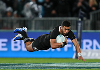 Richie Mo'unga scores during the Bledisloe Cup Rugby match between the New Zealand All Blacks and Australia Wallabies at Eden Park in Auckland, New Zealand on Saturday, 17 August 2019. Photo: Simon Watts / lintottphoto.co.nz