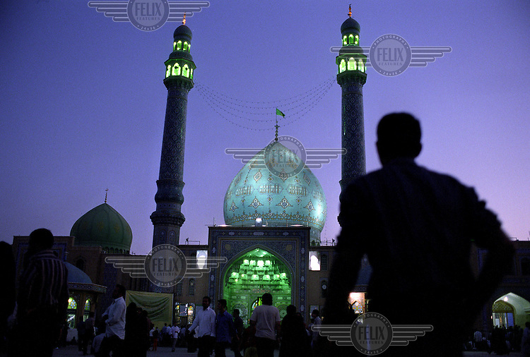 Worshippers in front of the Messiah mosque near Qom.