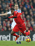 Divock Origi of Liverpool dives following a challenge by John O'Shea of Sunderland during the Premier League match at the Anfield Stadium, Liverpool. Picture date: November 26th, 2016. Pic Simon Bellis/Sportimage