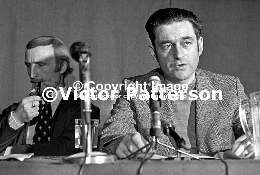 Seamus Costello, leader, IRSP, aka Irish Republican Socialist Party, whose paramilitary wing was the INLA aka Irish National Liberation Army, 197504000331b.<br /> <br /> Copyright Image from Victor Patterson, 54 Dorchester Park, <br /> Belfast, UK, BT9 6RJ<br /> <br /> t1: +44 28 9066 1296 (from Rep of Ireland 048 9066 1296)<br /> t2: +44 28 9002 2446 (from Rep of Ireland 048 9002 2446)<br /> m: +44 7802 353836<br /> <br /> e1: victorpatterson@me.com<br /> e2: victorpatterson@gmail.com<br /> www.victorpatterson.com<br /> <br /> Please see my Terms and Conditions of Use at www.victorpatterson.com. It is IMPORTANT that you familiarise yourself with them.<br /> <br /> Images used on the Internet must be visibly watermarked i.e. &copy; Victor Patterson<br /> within the body of the image and copyright metadata must not be deleted. Images <br /> used on the Internet have a size restriction of 4kbs and will be chargeable at current<br />  NUJ rates unless agreed otherwise.<br /> <br /> This image is only available for the use of the download recipient i.e. television station, newspaper, magazine, book publisher, etc, and must not be passed on to any third <br /> party. It is also downloaded on condition that each and every usage is notified within 7 days to victorpatterson@me.com<br /> <br /> The right of Victor Patterson to be identified as the author is asserted in accordance with The Copyright Designs And Patents Act (1988). All moral rights are asserted.
