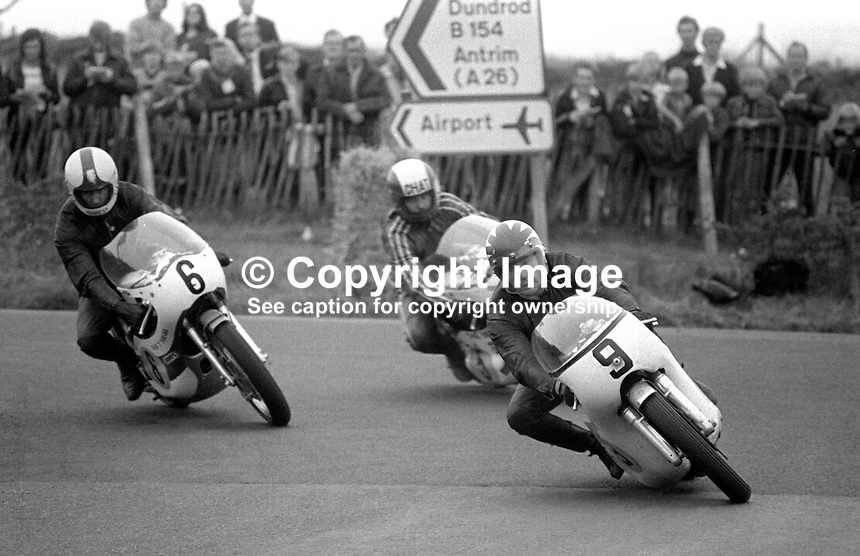Ray McCullough, British, rider, racing motorcyclist on bike 9 leads a couple of other riders out of the hairpin at the Dundrod circuit, N Ireland. McCullough was competing in 1973 Ulster Grand Prix. Can you positively idenitify the other riders? If so please let me know. 197308180571RMC1.<br /> <br /> Copyright Image from Victor Patterson, 54 Dorchester Park, Belfast, UK, BT9 6RJ<br /> <br /> Tel: +44 28 9066 1296<br /> Mob: +44 7802 353836<br /> Voicemail +44 20 8816 7153<br /> Skype: victorpattersonbelfast<br /> Email: victor@victorpatterson.com<br /> Email: victorpatterson@me.com (back-up)<br /> <br /> IMPORTANT: If you wish to use this image or any other of my images please go to www.victorpatterson.com and click on the Terms &amp; Conditions. Then contact me by email or phone with the reference number(s) of the image(s) concerned.