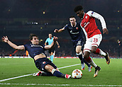 2nd November 2017, Emirates Stadium, London, England; UEFA Europa League group stage, Arsenal versus Red Star Belgrade; Ainsley Maitland-Niles of Arsenal being intercepted by Filip Stojkovic of Red Star Belgrade