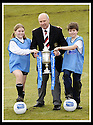 24/02/2009  Copyright Pic: James Stewart.File Name : sct_jspa05_scottis_cup.FORMER FALKIRK LEGEND ALEX TOTTEN SHOWS OFF THE HOMECOMING SCOTLAND SCOTTISH CUP TO SARAH JOHNSTON AND IAN MCARTHUR, PRIMARY SEVEN PUPILS AT ST MARGARET'S PRIMARY SCHOOL, POLMONT......Press Release..... A unique interactive tour to engage primary school children with football and the Homecoming Scottish Cup rolls into town today, Tuesday 24 February 2009 at St Margaret's Primary School in Falkirk.  . .Up to 100 pupils in primaries 5 to 7 at each local school will receive specialist skills and drill training from Scottish Football Association coaches as well as getting the chance to view the Homecoming Scottish Cup trophy itself.. .The school tour takes the form of a giant 'football-shaped' tent, which houses the world's oldest footballing trophy and information about Homecoming Scotland and the Scottish Cup tournament.. .Future football stars will be given soccer skills training ahead of watching their home team, Falkirk, take on Inverness Caledonian Thistle in the quarter finals of the Homecoming Scottish Cup on the weekend of 7 March.. .Falkirk legend Alex Totten, who used to manage the side, will be on hand at St Margaret's Primary School to share his knowledge and experience with the kids and to see the trophy himself.. .All primary schools in Scotland will also be sent education packs to encourage pupils to know more about Homecoming Scotland and to learn more about healthy eating, fitness and playing football as a way to keep fit and have fun.  . .As part of the football celebrations, the tour will then encourage locals in the town centre to get behind their local team, when the cup visits The Mall in Falkirk later in the afternoon.. .The Homecoming Scottish Cup Tour has been designed to engage with Scotland's local communities and spread the message about joining in the celebrations for Homecoming Scotland 2009, a programme comprising over 300 events to celebrate Scotland's culture, h