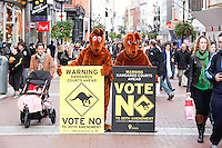 NO REPRO FEE. 26/10/2011.VOTE NO TO THE 30TH AMENDMENT to the Constitution.  With 24 hours to polling No Campaign volunteers  joined the 'Roos at St Stephen's Green Shopping Centre to canvass shoppers and highlight the dangers of the 30th amendment to the Constitution.For further information, and to arrange interviews, see the note below, and/or contact:Stephen O'HarePolicy & Research Officer, Irish Council for Civil Liberties. Tel 085 711 26 35 the campaign website www.kangaroocourts.net. Picture James Horan/Collins