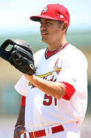April 15, 2009:  Pitcher Brian Broderick (51) of the Palm Beach Cardinals, Florida State League Class-A affiliate of the St. Louis Cardinals, during a game at Roger Dean Stadium in Jupiter, FL.  Photo by:  Mike Janes/Four Seam Images