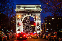 New York, NY - 12 December 2015 - Christmas tree under the Washington Square Arch in Greenwich Village