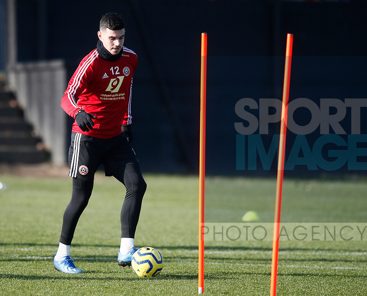 John Egan of Sheffield Utd during the Press Conference & Training at the Steelphalt Academy, Sheffield. Picture date: 7th February 2020. Picture credit should read: Simon Bellis/Sportimage