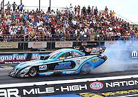 Jul 23, 2016; Morrison, CO, USA; NHRA funny car driver Jeff Diehl during qualifying for the Mile High Nationals at Bandimere Speedway. Mandatory Credit: Mark J. Rebilas-USA TODAY Sports
