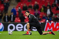 Gianluigi Buffon of Juventus during the pre-match warm-up <br /> <br /> Photographer Craig Mercer/CameraSport<br /> <br /> UEFA Champions League Round of 16 Second Leg - Tottenham Hotspur v Juventus - Wednesday 7th March 2018 - Wembley Stadium - London <br />  <br /> World Copyright &copy; 2017 CameraSport. All rights reserved. 43 Linden Ave. Countesthorpe. Leicester. England. LE8 5PG - Tel: +44 (0) 116 277 4147 - admin@camerasport.com - www.camerasport.com