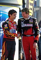 Nov. 16, 2008; Homestead, FL, USA; NASCAR Sprint Cup Series former champion Jeff Gordon (left) and Bill Elliott during the Ford 400 at Homestead Miami Speedway. Mandatory Credit: Mark J. Rebilas-