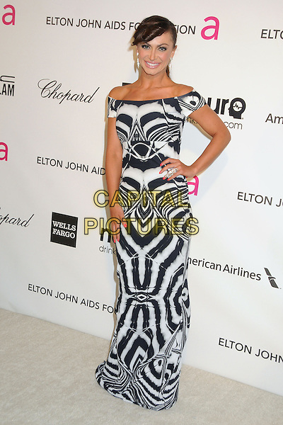 Karina Smirnoff.21st Annual Elton John Academy Awards Viewing Party held at West Hollywood Park, West Hollywood, California, USA..February 24th, 2013.oscars full length black white off the shoulder pattern dress hand on hip  .CAP/ADM/BP.©Byron Purvis/AdMedia/Capital Pictures.