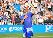 June 19th 2017, Queens Club, West Kensington, London; Aegon Tennis Championships, Day 1; Denis Shapovalov of Canada waves to the crowd after defeating Kyle Edmund of Great Britain in the third and final set
