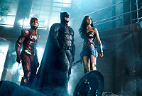 Justice League (2017) <br /> EZRA MILLER as The Flash, BEN AFFLECK as Batman and GAL GADOT as Wonder Woman<br /> *Filmstill - Editorial Use Only*<br /> CAP/KFS<br /> Image supplied by Capital Pictures