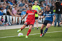 Kansas City, Mo. - Saturday April 23, 2016: Portland Thorns FC defender Meghan Klingenberg (25) and FC Kansas City midfielder Heather O'Reilly (9). FC Kansas City hosts Portland Thorns FC at Swope Soccer Village.