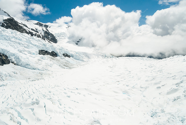 Upper parts of Franz Josef Glacier icefield, Westland Tai Poutini National Park, UNESCO World Heritage Area, South Westland, West Coast, New Zealand, NZ