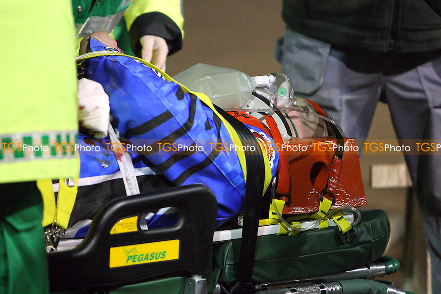 Leigh Lanham of Ipswich is injured in a crash during Heat 8 and is taken to hospital after emergency treatment on the track - Ipswich Witches vs Lakeside Hammers - Speedway Challenge Match First Leg at Foxhall Stadium, Ipswich, Suffolk - 19/03/09 - MANDATORY CREDIT: Gavin Ellis/TGSPHOTO - Self billing applies where appropriate - 0845 094 6026 - contact@tgsphoto.co.uk - NO UNPAID USE.