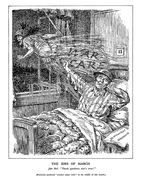 """The Ides of March. John Bull. """"Thank goodness that's over."""" [Pessimists predicted """"another major crisis"""" in the middle of this month.] (John Bull wakes on March 15th as a Nazi 'War Scare' ghost escapes out of the window amid a 'Rearmament Programme' headline on his sidetable)"""
