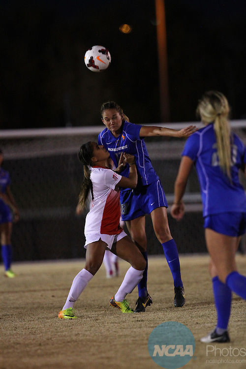 07 NOV 2013: Fresno State University takes on Boise State during Game 5 of the Mountain West Conference Women's Soccer Championship held at the UNM Soccer Complex in Albuquerque, NM. Boise State outlasted FSU 2-1 in the second period of overtime to advance to the Championship match. (Juan Labreche/NCAA Photos)