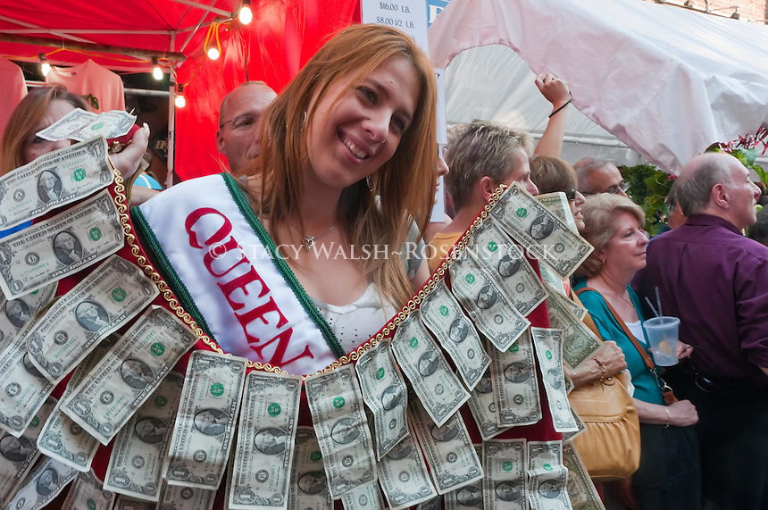New York, NY -  18 September 2010 - The Queen of San Gennaro with a shawl of dollar bills to be presented to the icon Statue of San Gennero