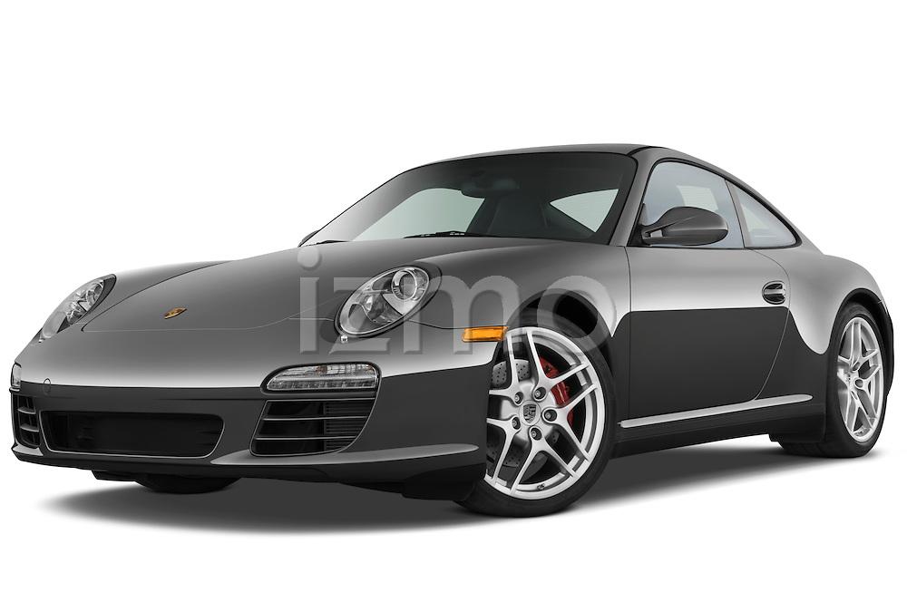 Low aggressive front three quarter view of a 2009 Porsche Carrera 4S Coupe.