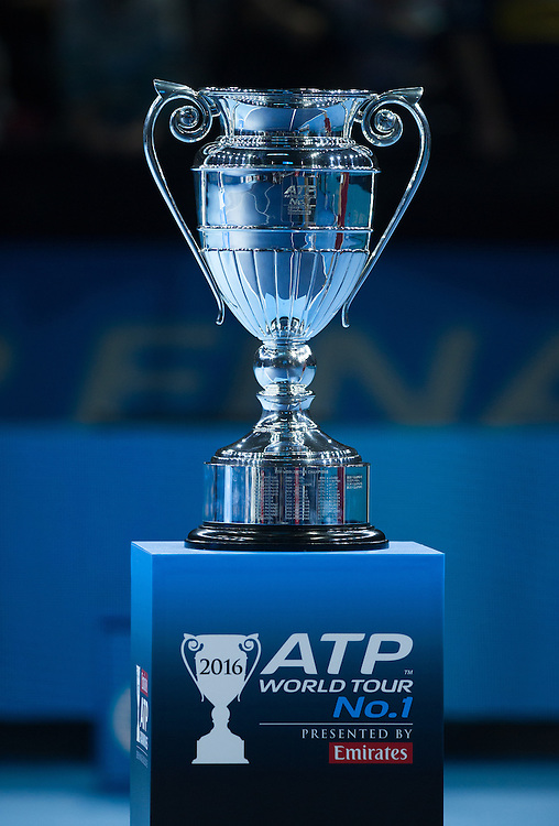 The ATP World Tour No1 Trophy on display after the Andy Murray / Novak Djokovic men&rsquo;s singles Final match on day eight of the ATP World Tour Finals <br /> <br /> Photographer Ashley Western/CameraSport<br /> <br /> International Tennis - Barclays ATP World Tour Finals - Day 8 - Sunday 20th November 2016 - O2 Arena - London<br /> <br /> World Copyright &copy; 2016 CameraSport. All rights reserved. 43 Linden Ave. Countesthorpe. Leicester. England. LE8 5PG - Tel: +44 (0) 116 277 4147 - admin@camerasport.com - www.camerasport.com