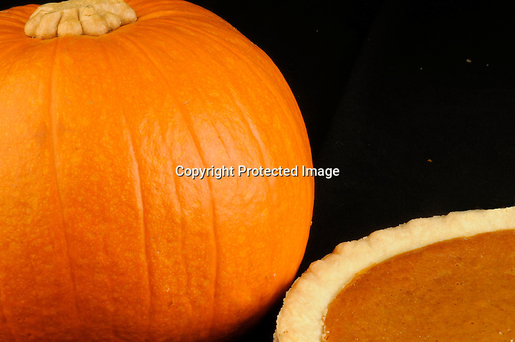 Stock photo of pumpkin and pie