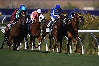 DEL MAR, CA - NOVEMBER 04: The pack rounds the turn during the Qatar Juvenile Turf Sprint Stakes race on Day 2 of the 2017 Breeders' Cup World Championships at Del Mar Racing Club on November 4, 2017 in Del Mar, California. (Photo by Jamey Price/Eclipse Sportswire/Breeders Cup)