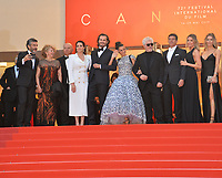 "CANNES, FRANCE. May 17, 2019: Nora Navas, Asier Etxeandia, Penelope Cruz, Pedro Almodovar, Antonio Banderas, Leonardo Sbaraglia & Nicole Kimbel at the gala premiere for ""Pain and Glory"" at the Festival de Cannes.<br /> Picture: Paul Smith / Featureflash"
